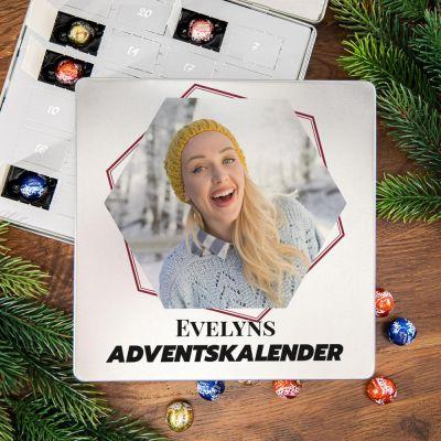 Geschenkideen - Adventskalender - Pralinen Metallbox mit Bild und Text