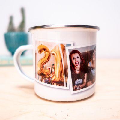 Geburtstagsgeschenk zum 50. - Personalisierbare Metalltasse mit Fotos