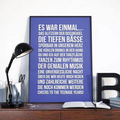 Hochzeitstag Geschenk - Personalisierbares Poster - Es war einmal ...