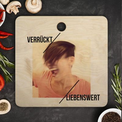 Exklusive Geschenke aus Holz - Personalisierbares Schneidebrett mit Foto und Text