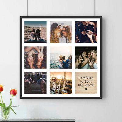 Fotogeschenke - Personalisierbares Foto-Poster mit 8 Bildern und Text