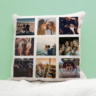 Geburtstagsgeschenk zum 20. - Personalisierbarer Kissenbezug mit 9 Bildern
