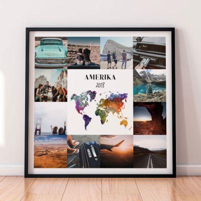 Exklusive Poster - Personalisierbares Reise-Poster mit 12 Bildern