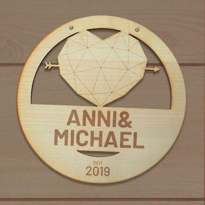 Hochzeitstag Geschenk - Personalisierbares Türschild Herz mit Text