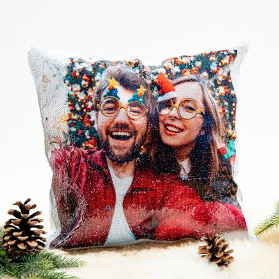 Geschenkideen - Personalisierbarer Pailletten Kissenbezug mit verstecktem Foto