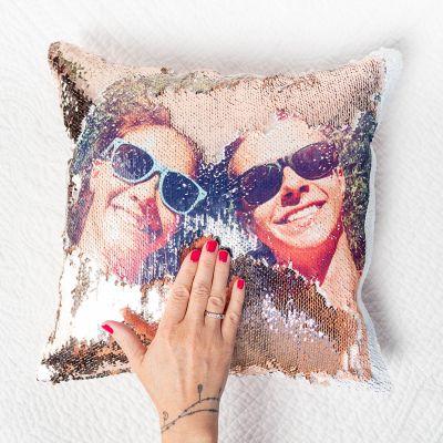 Kleine Geschenke - Personalisierbarer Pailletten Kissenbezug mit verstecktem Foto