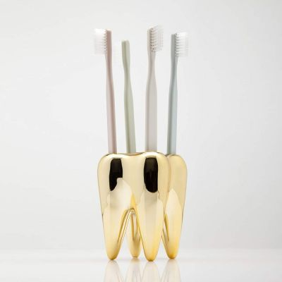 Wohnen - Zahnbürstenhalter Zahn in Gold