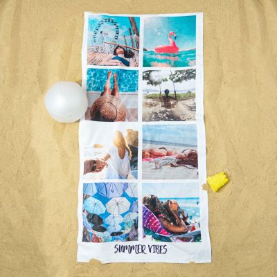 Geburtstagsgeschenk zum 50. - Personalisierbares Handtuch mit 8 Fotos und Text