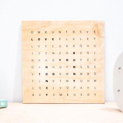 Hochzeitstag Geschenk - Wörtersuche - Personalisierbares Holzbild