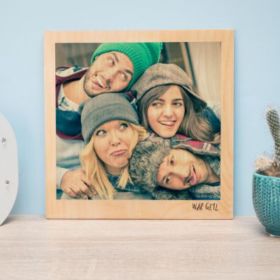 Exklusive Geschenke aus Holz - Personalisierbares Holzbild im Polaroid-Look