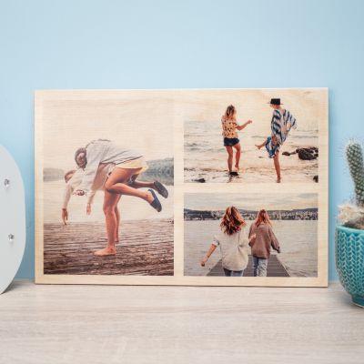 Exklusive Geschenke aus Holz - Personalisierbares Foto Holzbild mit 3 Bildern
