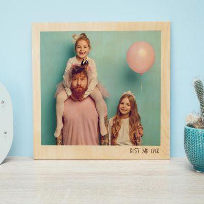 Geburtstagsgeschenk zum 20. - Personalisierbares Holzbild im Polaroid-Look