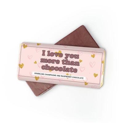 Exklusive Süßigkeiten - Champagner-Himbeer Schokolade I Love You More