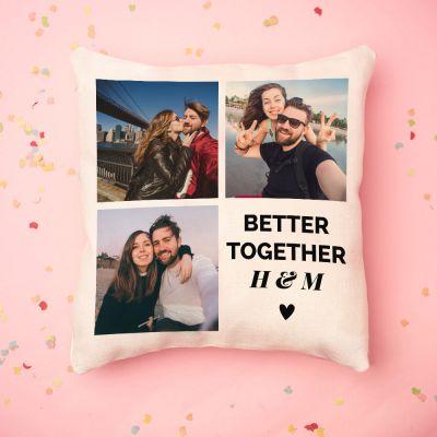 Geburtstagsgeschenk zum 50. - Personalisierbarer Kissenbezug mit 3 Bildern und Text