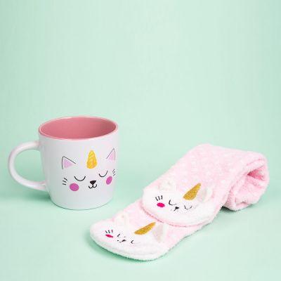 Weihnachtsgeschenke für Freundin - Kittycorn Socken und Tasse
