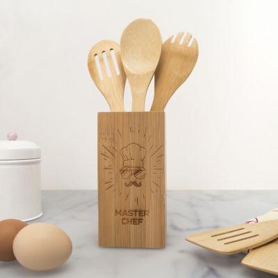 Exklusive Geschenke aus Holz - Personalisierbares Kochlöffel-Set inkl. Box Master Chef