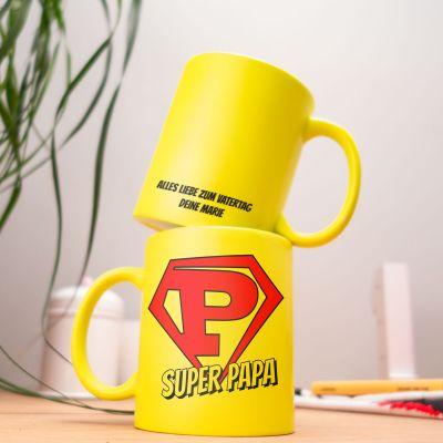 Geschenke für Papa - Personalisierbare Neon Tasse Super Papa