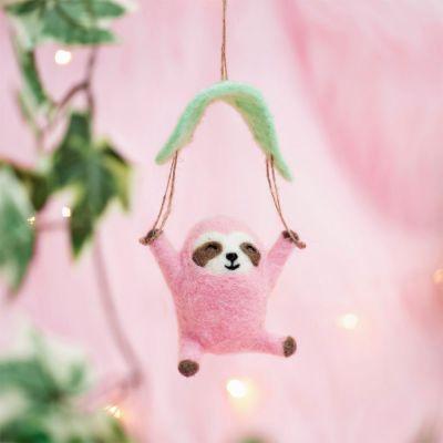 Weihnachtsdeko - Fallschirm-Faultier in Rosa