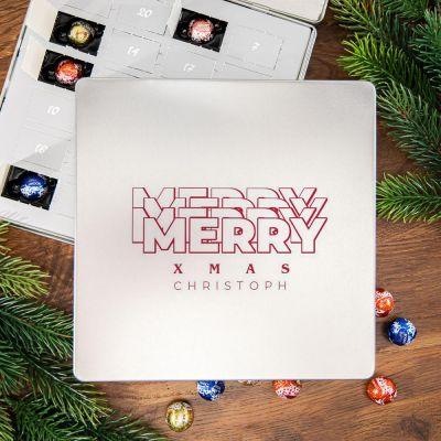 Personalisierte Süßigkeiten - Adventskalender - Pralinen Metallbox mit Text