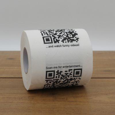 Badezimmer - Toilettenpapier mit QR-Codes