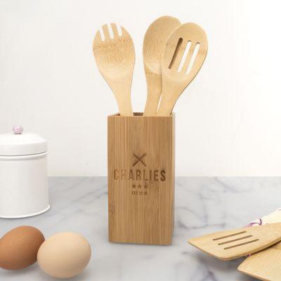 Exklusive Geschenke aus Holz - Personalisierbares Kochlöffel-Set inkl. Box Restaurant