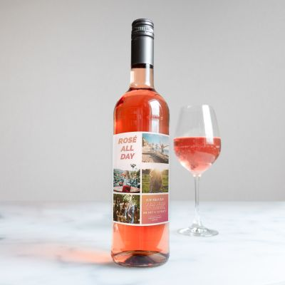 Geburtstagsgeschenk zum 50. - Personalisierbarer Wein mit 4 Bildern und Text