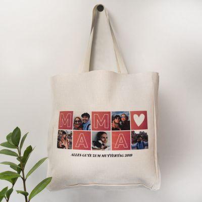 Geburtstagsgeschenk zum 50. - Personalisierbare Tasche Mama mit Bildern