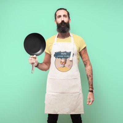 Küche & Grill - Personalisierbare Küchenschürze mit Farbe