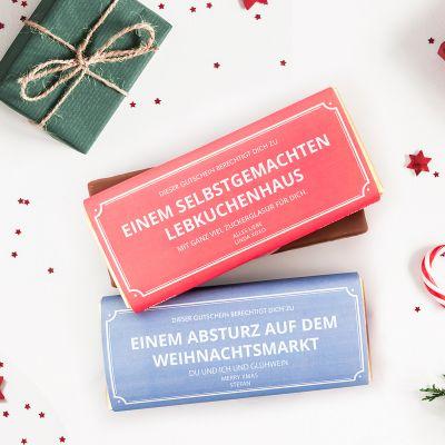 Weihnachtsgeschenke für Mama - Personalisierbarer Gutschein mit Schokolade