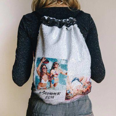 Kleidung & Accessoires - Personalisierbarer Pailletten Turnbeutel mit 2 Bildern und Text