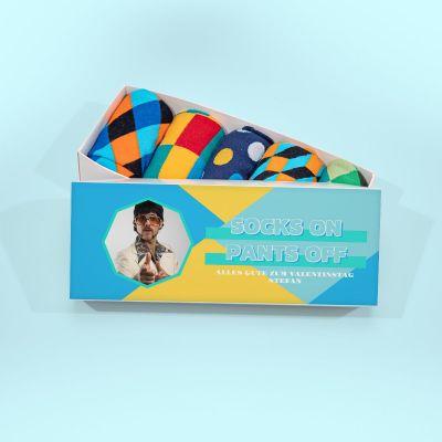 Valentinstag Geschenke für Männer - Sockenbox mit Bild und Text