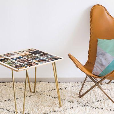 Exklusive Geschenke aus Holz - Personalisierbarer Holz-Tisch mit 16 Bildern