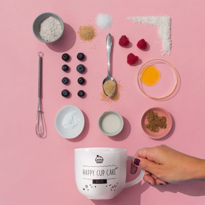 Tassen & Gläser - Kaffeetasse mit veganem Tassenkuchen-Rezept