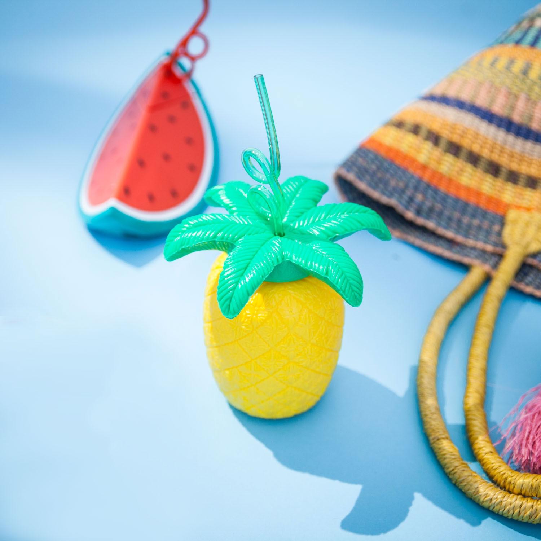 Image of Südfrüchte-Becher mit Trinkhalmen - Wassermelone