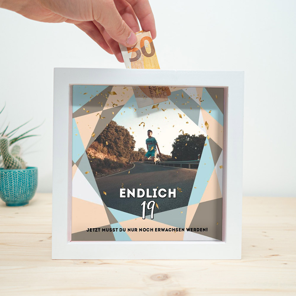 geburtstagsgeschenk für freund geldgeschenk sparbox mit foto